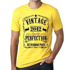 2012 Vintage Aged to Perfection Homme T-shirt Jaune Cadeau D'anniversaire
