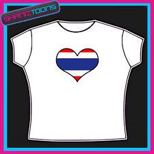 Thaïlande amour en forme de cœur drapeau emblème Design T-shirt