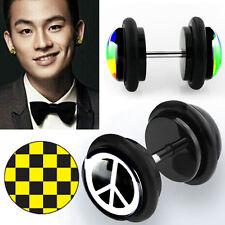 Black Illusion Punk Goth Fake Plug Earring Pairs Logo Design Print w/ O Rings US