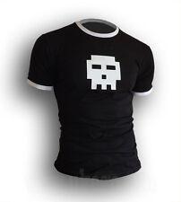 Mens 8 Bit Skull scott pilgrim Symbol ringer contrast T-shirt *NEW* S-XXL