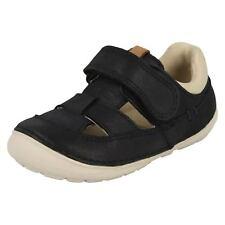 infantil Clarks Softly CENIZA CUERO AZUL MARINO Primeros Zapatos Para Caminar