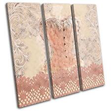 Boudior Corset Lace Fashion TREBLE CANVAS WALL ART Picture Print VA