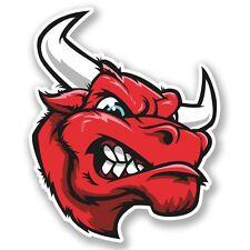 2 X Rojo Mad Bull Pegatina de vinilo Laptop Equipaje de Viaje #4236