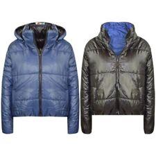 filles vestes bleu marine ENFANTS réversible court à capuche doudoune veste 5-13