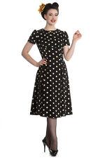 Hell Bunny Sweet Office Lady Black Mod Polka Dot Dress Madden Dress