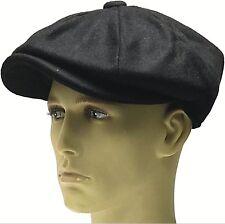 Peaky Blinders Black Hat Newsboy Gatsby Cap Flat Baker Boy Wool Mix Bakerboy Men