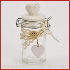 Barattoli ermetici shabby in vetro bomboniere battesimo comunione matrimonio