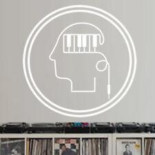 Sticker Musique Logo Clavier dans la tête en cercle, de 10 à 30 cm (MUS019)