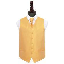 DQT Greek Key Patterned Marigold Yellow Mens Wedding Waistcoat & Cravat FREE Pin