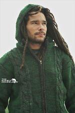 Warm Hippie Jacket Green Black Double Knitted Fleece Lined Coat Aran Nepal