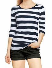 Allegra K donne 1/2 contrasto maniche strisce a colori T-shirt