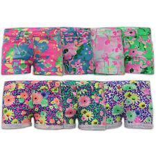 Ragazze Pantaloncini Bambini Floreale Neon Stampa Hot Pants Roll Up STRETCH Bambini Estate