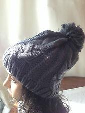 Slouchy Beanie Sombreros Con Piel verdadera POM POM Sombrero De Nieve Invierno Cálido Mujer de punto