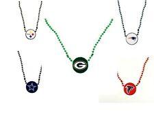 NFL football team Mardi Gras bead necklace  team logo medallion- pick your team
