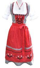 Midi Dirndl Mididirndl Trachtenkleid Rot Schwarz mit Stickerei 3 tlg. Set -