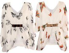 NEU Damen Chiffon Schmetterling Aufdruck mit Gürtel Fledermausärmel Oberteile