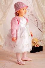 ABITO vestito BATTESIMO bianco rosa DAMIGELLA CERIMONIA tg 62-92 cod  1171