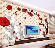 Papel Pintado Mural Vellón Mariposa Blanca Rosas Rojo 2 Paisaje Fondo Pantalla