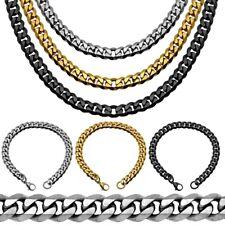 1 Collana Catena 1 Bracciale in acciaio corda uomo donna Colori nero oro argento