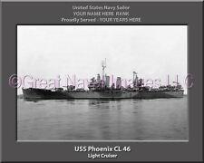 USS Phoenix CL 46 Personalized Canvas Ship Photo Print Navy Veteran Gift