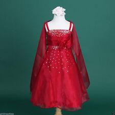 Apple Red Teen Quinceañera Flower Girl Shawl Prom Dress 2 4 6 8 9/10 12 14 15/16