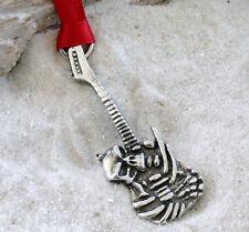 GUITAR SKELETON SKULL Pewter Christmas ORNAMENT Holiday