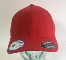 BRAND NEW RED FLEXFIT PLAIN STRETCHFIT BASEBALL CAP HAT VARIOUS SIZES