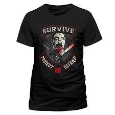 WALKING DEAD SURVIVE PROTECT DEFEND COTTON T-SHIRT UNISEX BLACK - Zombies Grimes