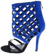 WOMEN Black Royal Blue Laser Cut Micro Fiber Caged High Heel Stiletto Pumps