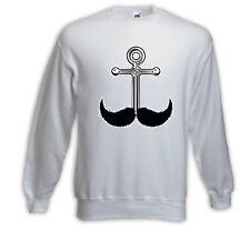 Rockabilly Pullover Anchor Mustache weiß Matrose Bart Anker Beach