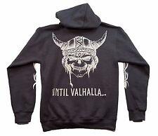 Men's Dark Heather Hoodie Viking Skull Until Valhalla