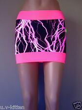 Schminke: UV Lycra lightning mini skirt rave clothing neon sexy club spandex