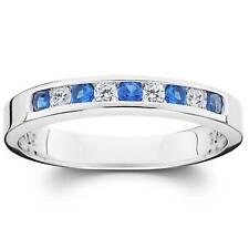 1/3ct Diamond & Blue Sapphire Anniversary Wedding Ring