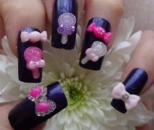 14pcs x 3D acrylique nail art * bonbons, sucettes & strass noeuds * kawaii craft