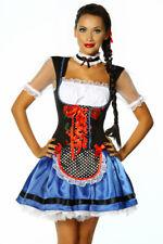 Party Dirndl schwarz blau weiß rot mit Schürze für Oktoberfest oder Karneval