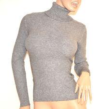 MAGLIONE donna maglietta GRIGIO collo alto manica lunga maglioncino maglia F135