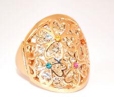 ANELLO ORO donna strass BRILLANTINI fedina CRISTALLI dorato ring anillo inel 170