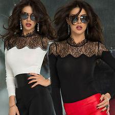By Alina Damentop Spitzentop Pullover Longshirt Damenshirt Oberteil Bluse XS-M