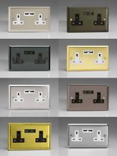 Classic 2 Gang 13 Amp Socket + 2x USB Charging Ports - Finish & Insert Option
