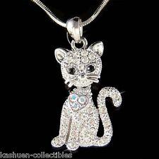 w Swarovski Crystal ~Kitty Cat Kitten movable Charm Pendant Necklace Jewelry New