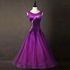 Latin Ballroom Dance Dress Modern Salsa Waltz Standard Long Dress#FM249 Purple