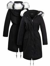 Womens Longline Padded Parka Faux Fur Coat Size 12 8 10 14 16 Black