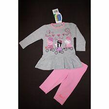PEPPA PIG ensemble tunique t-shirt gris + legging rose 12 18 24 ou 30 mois NEUF