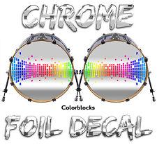 "DOUBLE BASS *CHROME* Drum Head Decals Sticker Vinyl Kick Skins 14"" 18"" 20"" 22"" +"