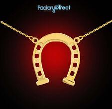 14k Gold Horseshoe Charm Lucky Necklace