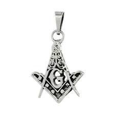 "Sterling Silver Square & Compass Masonic Symbol Pendant / Charm, 18"" Box Chain"