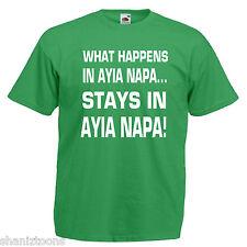 What Happens Ayia Napa Mens T Shirt 12 Colours Size S - 3XL