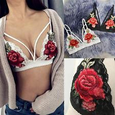 Retro Roses Women Bandage Appliques Bra Lace Bralette Bustier Crop Top Underwear