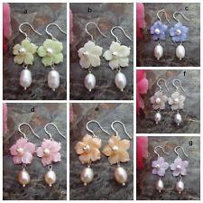 On Sale  Mother  Of Pearl Flower Rice Freshwater Pearl Fashion Earrings Women je