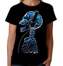 Velocitee Ladies Skelephones T-Shirt Skeleton DJ Festival Music Xray Rock A18616